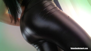 Skyla Novea's ass in latex leggings
